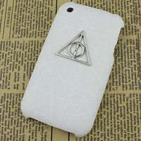 Deathly Hallows Harry Potter White Hard Case Cover for Apple iPhone 3 Case, iPhone 3gs Case