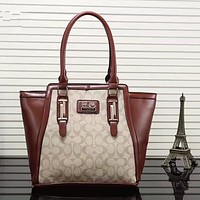 COACH Women Shopping Bag Leather Satchel Handbag