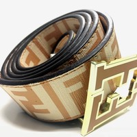 Fendi Zucca Belt Caramel Beige Men's 38 Designer Fashion
