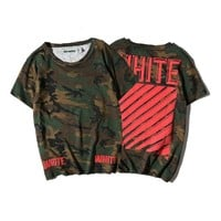 OFF WHITE  Short Sleeve Camouflage Red Stripes Round-neck Summer T-shirts [11501029132]