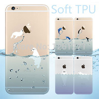 2016 Popular Marine Animals Transparent Blue Dolphins Penguins Polar Bears Sink Case Cover for iphone 5 5s 6 6s 6plus 6s plus