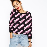 ASOS Cropped Sweatshirt with All Over Barbie Print