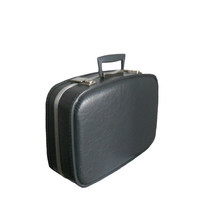 Vintage Luggage Dark Gray Suitcase 1970's Small Carry-On