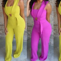 Women Casual Sleeveless Hollow Out Yellow/Violet Jumpsuit