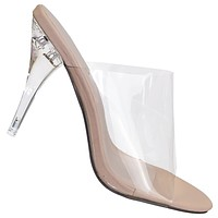 May1 Clear High Heel Mules - PVC Acrylic See Through Slide All Season Sandal