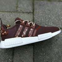 adidas NMD x LV Louis Vuitton Burgundy Women Fashion Trending Running Sports Shoes