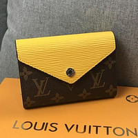 LV Louis Vuitton tide brand female models water ripple classic old flower short wallet card package Yellow