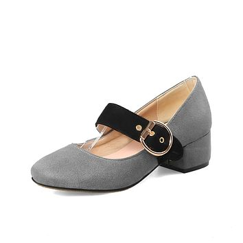 Ladies Square-headed Thick Heels Mary Janes Suede Buckle Woman Chunky Pumps Shoes