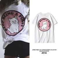 DCCK7BW Lovely cat sweet pink middle finger short sleeve T-shirt street leisure girlfriends in harajuku half sleeve
