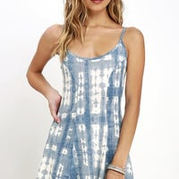 Billabong Same Dance Blue Tie-Dye Dress