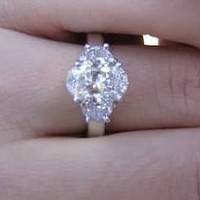 2.84ct F-SI2 Oval Diamond Engagement Ring Oval & Half Moon Diamond Ring JEWELFORME BLUE GIA CERTIFIED