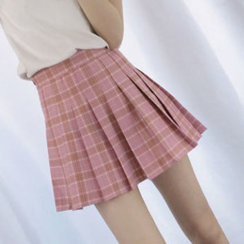 College Japanese girl plaid pleated pink skirt