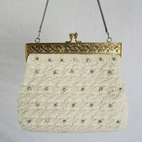 Vintage White Beaded Purse with Rhinestones Gold Frame Handbag Evening Bridal Purse