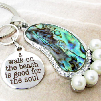 Abalone Keychain with Beach Quote