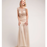 Champagne Lace & Chiffon Cap Sleeve Gown Prom 2015