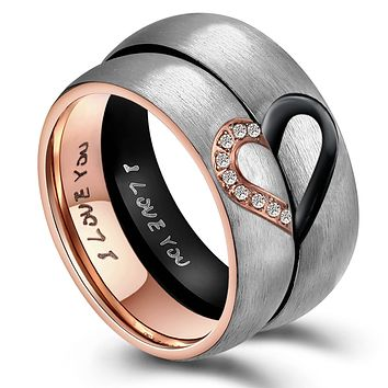 ANAZOZ Hers & Women's for Real Love Heart Promise Ring Stainless Steel High Polished Center/Matte Finish 6MM US Size 5