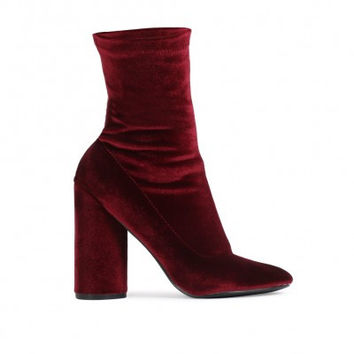 ELSA SOCK FIT ROUND HEEL ANKLE BOOTS IN BORDEAUX VELVET