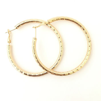Sun Rays Large Gold Hoop Earrings