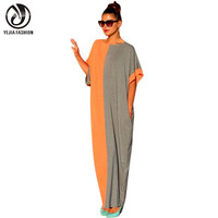 YEJIA FASHION Casual Vintage Women 2016 Summer Long Maxi Party Office Dresses Sexy Loose Short Sleeve Patchwork Boho Beach Dress