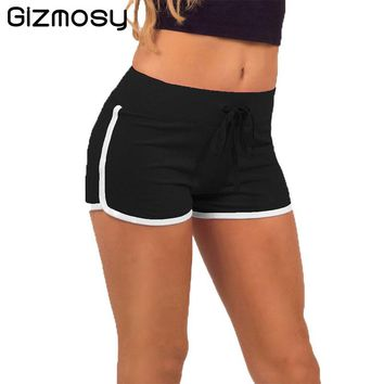 1 PC Fast Drying Drawstring Shorts Women Casual Anti Emptied Cotton Contrast Elastic Waist Candy Color Short Pants BN964