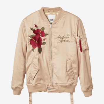 Hibiscus Bomber Jacket in Champagne