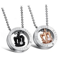 Couple two sets of crystal engraving crown titanium pendants couple necklace (including Thanksgiving & Christmas gift box) F