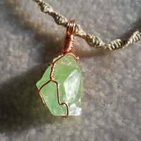 Hemp necklace with wirewrapped Green Calcite by SacredStonesss