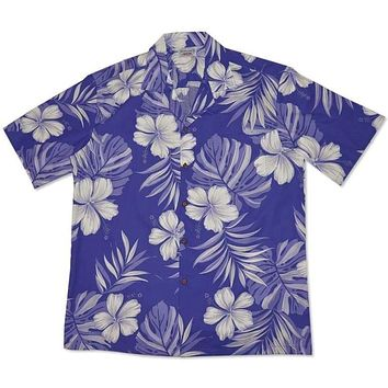 waikiki purple hawaiian cotton shirt