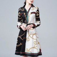 GUCCI Fashion Women Personality Print Long Sleeve Lapel Shirt Dress