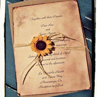 Country/ Rustic Sunflower wedding / Bridal shower invitation suite