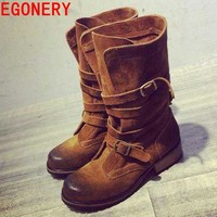 Fashion Online New 2016 Full Genuine Leather Women Mid Calf Boots Woman Autumn Winter Boots Shoes Woman Riding Motorcycle Lady Boots Egonery