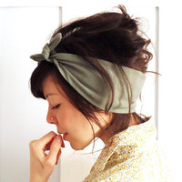 Tie Up Headscarf Olive Green