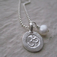 Small Sterling Silver Om Charm Necklace by jewelsbyn on Etsy