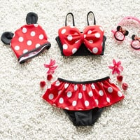 2016 Baby Swimwear Lovely Minnie Mouse Baby Kids Girls Bikini Swimsuit New Summer Two Pieces Biquini Infantil Hot Sale 1-6Y