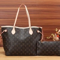 Louis Vuitton LV Women Leather Shopping Handbag Set Two Piece