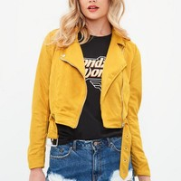 Missguided - Yellow Faux Suede Biker Jacket
