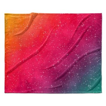 """Fotios Pavlopoulos """"Colorful Constellation"""" Pink Glam Fleece Throw Blanket"""