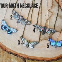 INTO THE LIGHT wooden moth image necklace