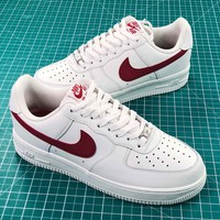 Nike Air Force 1 Low Af1 07 White Red Sport Shoes - Best Online Sale