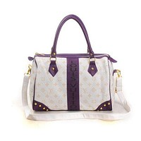 LV Louis Vuitton Women's Shopping Leather Tote Bag Shoulder Bag F