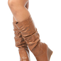 Chestnut Faux Leather Slouchy Calf Length Wedge Boots