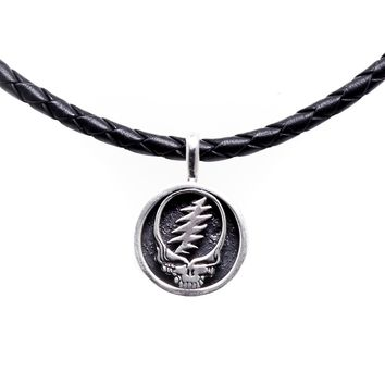 Steal Your Face Sterling Silver Charm Woven Leather Necklace