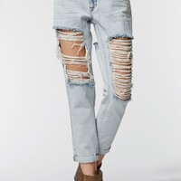 Kendall & Kylie Ripped & Destroyed Boyfriend Jeans - Womens Jeans - Blue -