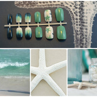 """Artificial Nails - """"Caribbean Cruise"""" -  Mint/Turquoise, Teal, Dark Blue, & White, Hand Painted, Fake Nails"""