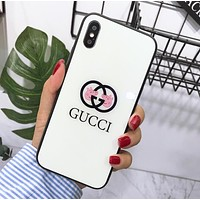 Supreme X Champion X Gucci  Cute Peppa Pig iPhone 6 plus iPhone X Glass Protective iPhone Phone Case Soft Shell