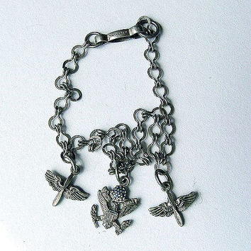 Vintage World War 2 Era Sterling Army Air Corps Sweetheart Charm Bracelet