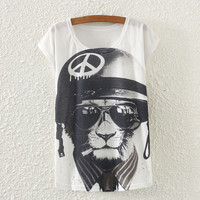 White Short Sleeve With Anti-War Sign T-Shirt