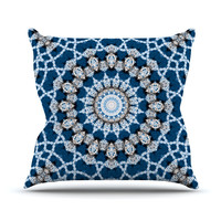 "Iris Lehnhardt ""Mandala II"" Blue Abstract Outdoor Throw Pillow"