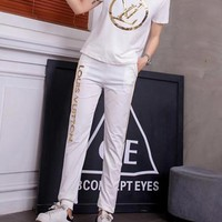 """Louis Vuitton"" Women Casual Fashion Sequin Letter Short Sleeve Trousers Set Two-Piece Sportswear"