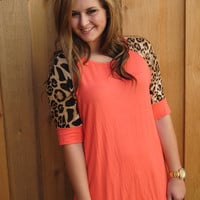 Coral and Leopard Top Plus Size (XL-3XL)
